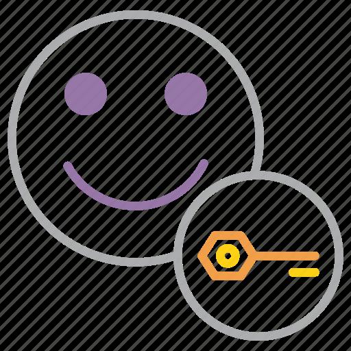account, employee, encryption, key, password, safety, user icon