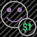 account, balance, customer, dollar, increase, user, value icon