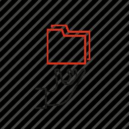 folder, hand, management, offer, service icon