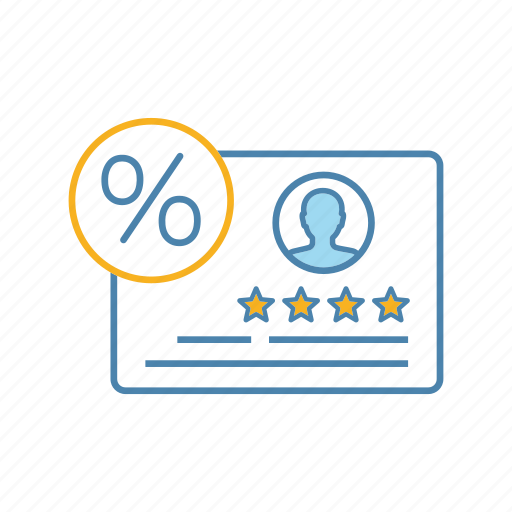 client, customer, feedback, loyalty program, percent, percentage, satisfaction rate icon