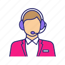 assistant, call center, customer support, headset, hotline, manager, operator icon