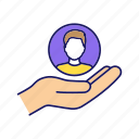 care, employment, hand, human resource, loyalty, offer, recruitment icon