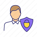 customer, defense, person, protection, safeguard, safety, shield icon