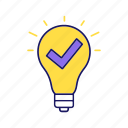 approved, business strategy, checkmark, idea, light bulb, solution, verified