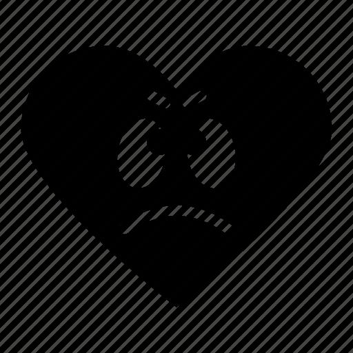 awful, emoji, face, favorite, heart, rating, sad icon