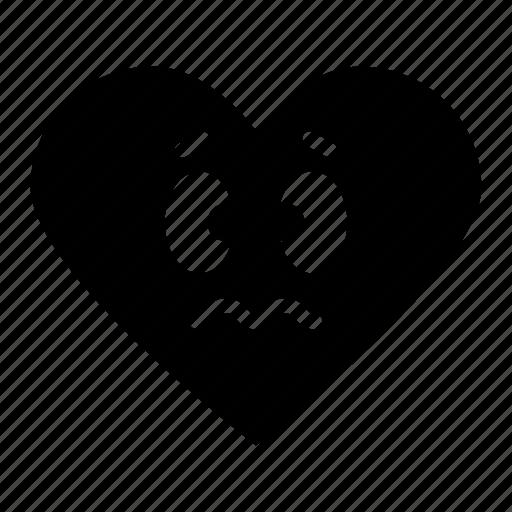 bad, emoji, face, favorite, heart, rating, sad icon