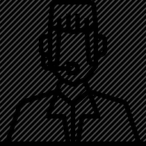 avatar, customer, headphone, man, service, user icon