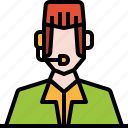 avatar, customer, headphone, man, service, user, worker icon