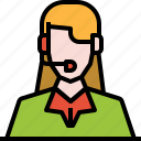 avatar, customer, headphone, service, user, woman, worker icon