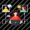 customers handling, customer services, customer support, helpline operator, customer complains icon
