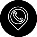 address, location, phone, place, telephone icon