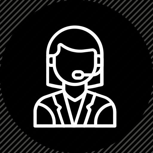 customer, customercare, help, representative, service, support, woman icon