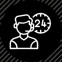allday, customer care, male, man, representative, service, support icon