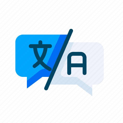 feedback, help, language, question, support, translate, word icon