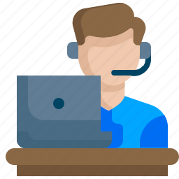 customer, feedback, help, laptop, representative, service, support icon