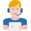 call center, chat support, communication, customer support, service, support, tablet icon