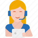 call center, communication, customer support, service, support, tablet, woman icon