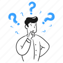 asking, question, ask, mark, customer, service, support, assistance, man, help, thinking, confused icon