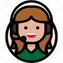 call center, chat, customer support, female icon