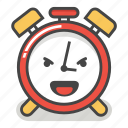 alarm, clock, emoji, evil, laugh, minute, time icon