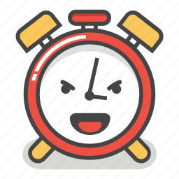 alarm, clock, emoji, evil, laugh, minute, time icon