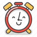 alarm, clock, emoji, happy, minute, smile, time icon