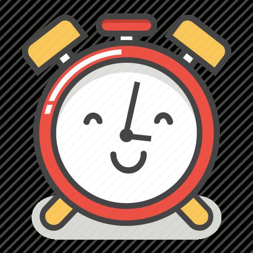 alarm, clock, emoji, happy, minute, smile, time icon