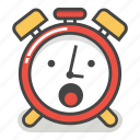 alarm, awe, clock, emoji, minute, surprised, time icon