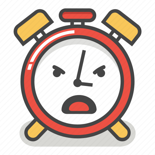 alarm, angry, clock, emoji, evil, minute, time icon