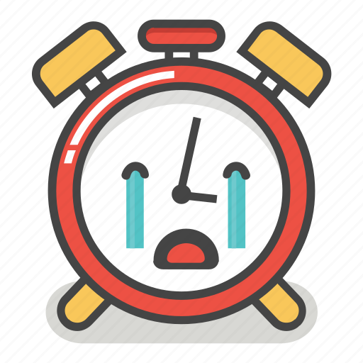 alarm, clock, cry, crying, emoji, minute, time icon