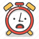 alarm, clock, emoji, minute, time, upset, worried icon
