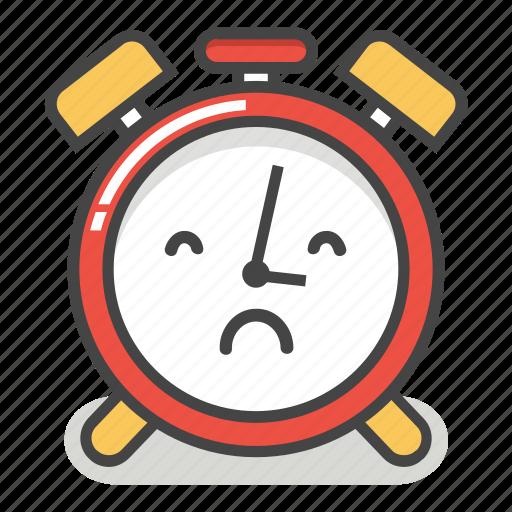 alarm, clock, emoji, minute, sad, time, upset icon