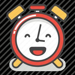 alarm, clock, emoji, happy, laugh, minute, time icon