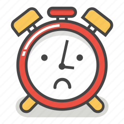 alarm, clock, emoji, minute, sad, time, upset icon