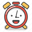 alarm, clock, emoji, happy, laugh, minute, time icon
