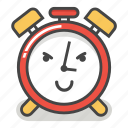 alarm, clock, emoji, evil, minute, smile, time icon