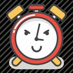 alarm, clock, emoji, evil, minute, smile, time icon