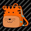animal, backpack, cat, character, kindergarten, school bag, tiger icon