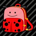 animal, backpack, beetle, character, kids, kindergarten, school bag icon