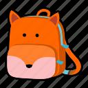 animal, backpack, character, fox, kids, kindergarten, school bag icon