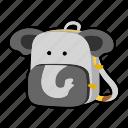 animal, backpack, character, elephant, kids, kindergarten, school bag icon