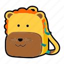 animal, backpack, character, kids, kindergarten, lion, school bag icon
