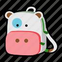 animal, backpack, character, cow, kids, kindergarten, school bag icon