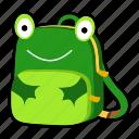 animal, backpack, character, frog, kids, kindergarten, school bag icon
