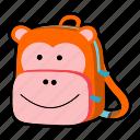 animal, backpack, character, kids, kindergarten, monkey, school bag icon