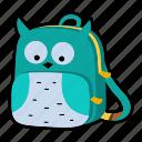 animal, backpack, bird, character, kindergarten, owl, school bag icon