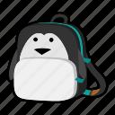 animal, backpack, character, kids, kindergarten, penguin, school bag icon