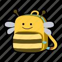 animal, backpack, bee, character, kids, kindergarten, school bag icon