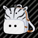 animal, backpack, character, kids, kindergarten, school bag, zebra