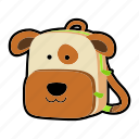animal, backpack, character, dog, kids, kindergarten, school bag icon